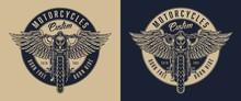 Vintage Custom Motorcycle Round Label