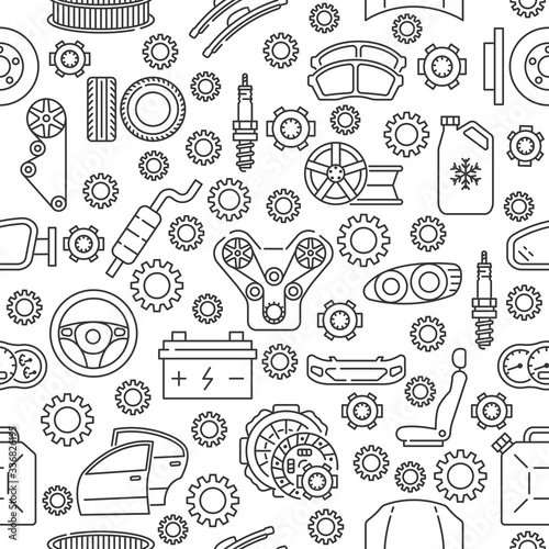Seamless auto service pattern with line icon. Gray auto parts icons on white background. Fototapete