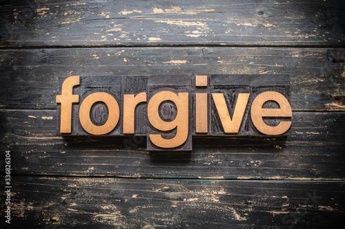 Forgive Concept Vintage Wooden Letterpress Type Word Canvas Print