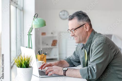 Stampa su Tela Mature man using laptop at home