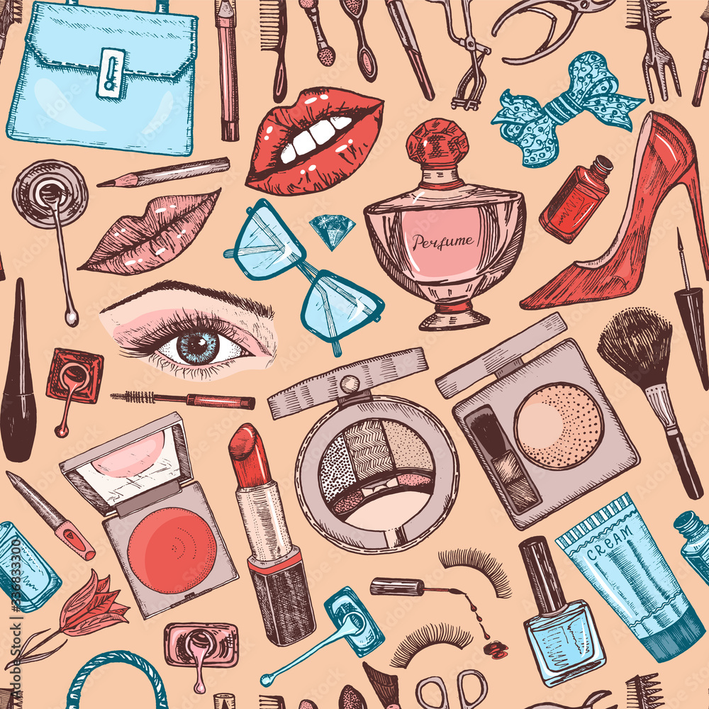 Cosmetics for Makeup seamless pattern for background. Doodle A collection of female products. Decorative Elements for a beauty salon. Hand drawn vintage engraved sketch. Outline stickers. Eye Lips.