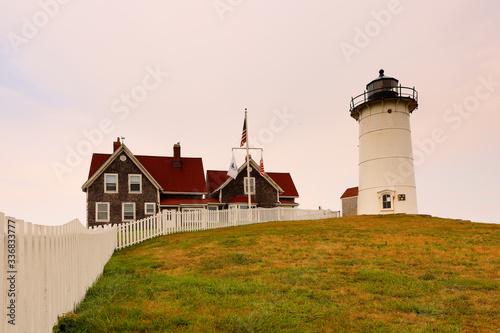 Nobska lighthouse at Cape Cod at sunset Canvas Print