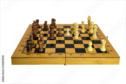 Chess pieces on a chessboard isolate on a white background close-up Fototapet