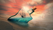 Ship In A Bottle In The Water ...