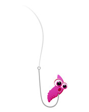 Vector Drawing Of A Surprised Cartoon Worm On A Fishing Hook.