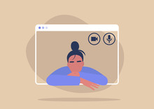 Young Female Character Using A Video Call Interface, Remote Online Meeting, Social Distancing, Working From Home