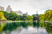 Conservatory Water Pond With Remote Controlled Sailing Model Boats During The Gloomy Weather In The Central Park, New York.