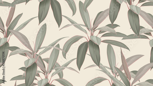 Foto-Vinylboden - Foliage seamless pattern, colorful Cordyline fruticosa Firebrand plant on bright brown (von momosama)