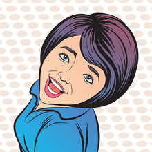 The Girl Laughs At Ease. Pop Art Retro Hand Drawn Style Vector Design Illustrations.