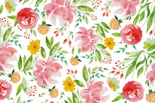 Watercolor Pattern With Pink A...