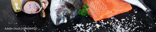 Valokuva Fresh raw fish and seafood