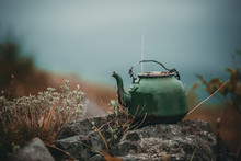 An Old Green Kettle Stands On ...