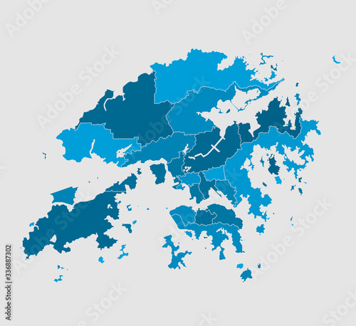 Vector map Hong Kong region China template Tableau sur Toile