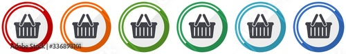 Shopping basket icon set, flat design vector illustration in 6 colors options fo Fototapete