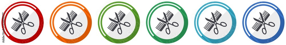 Fototapeta Haircut icon set, style, hair salon flat design vector illustration in 6 colors options for webdesign and mobile applications