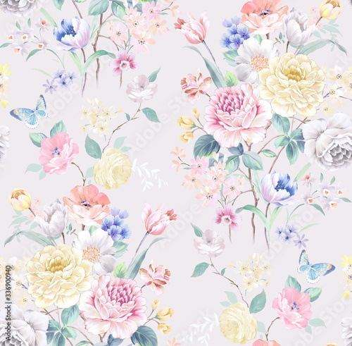Tapeta do sypialni  watercolor-seamless-pattern-with-rose-flowers-perfect-for-wallpaper-fabric-design-wrapping