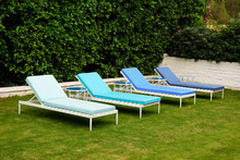 Four Lawn Chairs In Blue