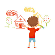 Little Boy Drawing House With Pencil On The Wall Vector Illustration