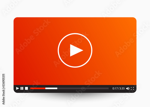 Slika na platnu Flat video player template for web and mobile apps.