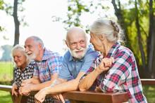Senioren Als Freunde Auf Einem Sommer Ausflug