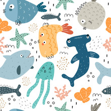 Undersea Seamless Pattern With Cartoon Sharks, Fish, Shells, Corals, Starfish, Decor Elements. Colorful Vector Flat For Kids. Hand Drawing. Baby Design For Fabric, Print, Wrapper, Textile