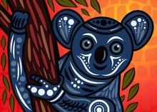 Aboriginal Art Vector Painting With Koala Bear On Wood Branch