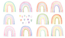 Watercolor Rainbows And Hearts...