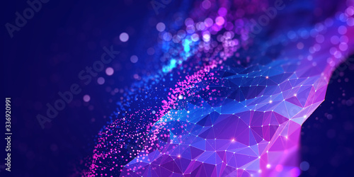 Obraz Abstract neural network 3D illustration. Big data concept. Global database and artificial intelligence. Bright, colorful background with bokeh effect - fototapety do salonu