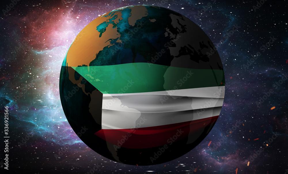 Fototapeta Earth Globe in a medical mask. Global epidemic of corona virus concept. Kuwait flag.