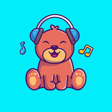 Teddy Bear Listening Music Vector Icon Illustration. Bear Mascot Cartoon Character. Animal Icon Concept White Isolated. Flat Cartoon Style Suitable For Web Landing Page, Banner, Flyer, Sticker, Card