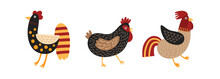 Set Of Funny Roosters And Chic...