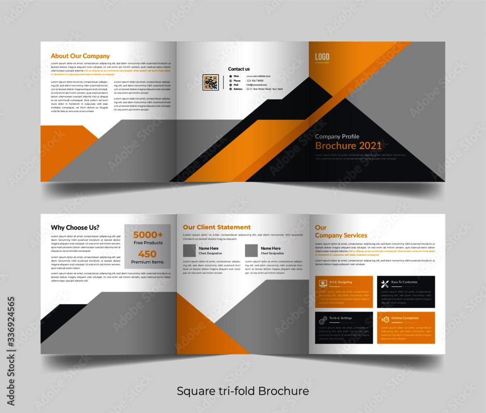 Fototapeta Corporate business professional 6 pages square tri fold brochure template design