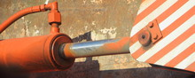 Old Painted Orange Hydraulic C...