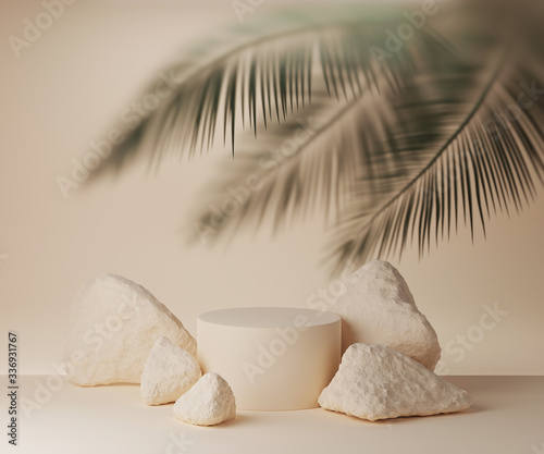 Slika na platnu 3D beige podium display with palm leaf behind frosted glass