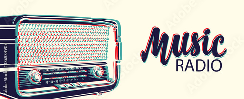 Photo Vector banner for radio station with an old radio receiver and inscription Music radio