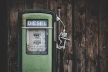Old Green Diesel Pump