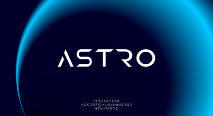 Astro, an abstract sporty technology science alphabet font. digital space typography vector illustration design