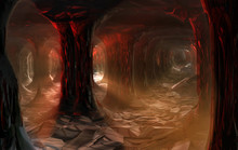 Dark Cave With Columns And Rays Of Light. 3d Illustration