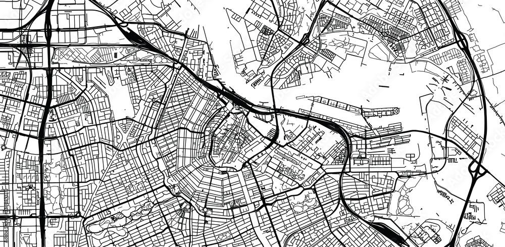 Fototapeta Urban vector city map of Amsterdam, The Netherlands