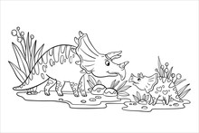 Vector Stock Coloring Page With Cute Family Of Dinosaurs. Doodle Outline Illustration With Two Funny Triceratops. Educational Pre-school Game Isolated On White.