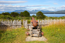 Punta Arenas,, Chile, Bulnes Fort. Guns.  The Fort Was Founded In 1843. There Are Reconstructions Of Log Cabins Where Settlers Lived, Chapels, Gunpowder Cellars, Prisons, And Stables. It Offers An Exc
