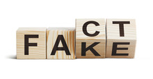 "Wooden Blocks Forming Words ""Fact"" And ""Fake"", Isolated On White Background"
