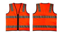 Orange Safety Vest Jacket Isolated On White Background