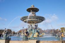 Place De La Concorde Fountain In A Sunny Day, Blue Sky In Paris