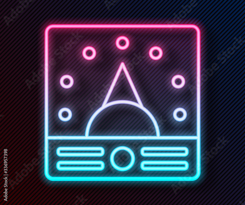 Glowing neon line Ampere meter, multimeter, voltmeter icon isolated on black background Canvas Print