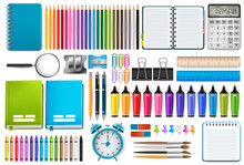 School Supplies. Vector Illust...