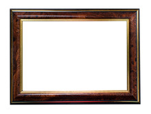 Dark Brown, Horizontal, Classic Frame For Text, Picture, Photo, Image, Text, Isolated On A White Background With Gold Or Bronze Edging