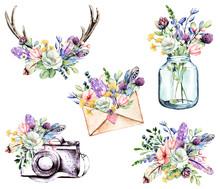 Set Watercolor Painting, Flora...