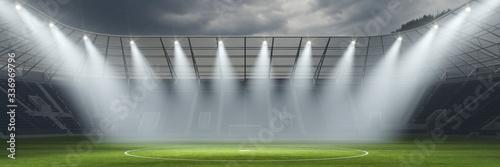 Obraz Leeres Fußballstadion wegen Geisterspiel und verschobener Meisterschaft - fototapety do salonu