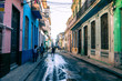 Havana Old Town Street with Local People and Tourist. Cuba.